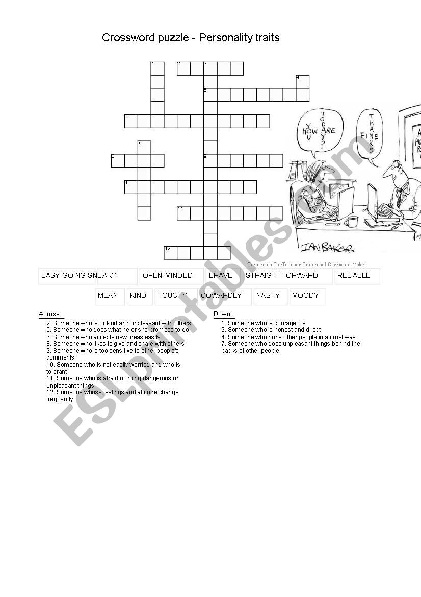 Crossword Personality Traits - Esl Worksheetbabette4 - Printable Character Traits Crossword Puzzle