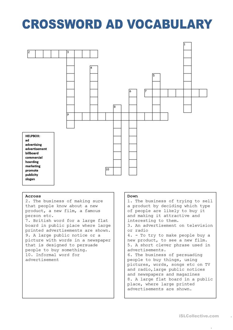Crossword Puzzle Ads (W. Helpbox) Worksheet - Free Esl Printable - Printable Vocabulary Crossword Puzzles