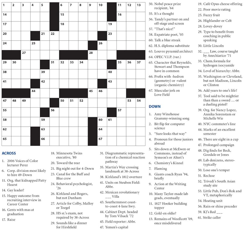 Crossword Puzzle – Crossword Puzzle – Hamilton College Pertaining To - College Crossword Puzzle Printable
