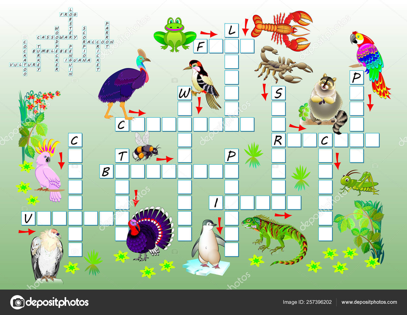 Crossword Puzzle Game Funny Animals Educational Page Children Study - Printable Cartoon Crossword Puzzles