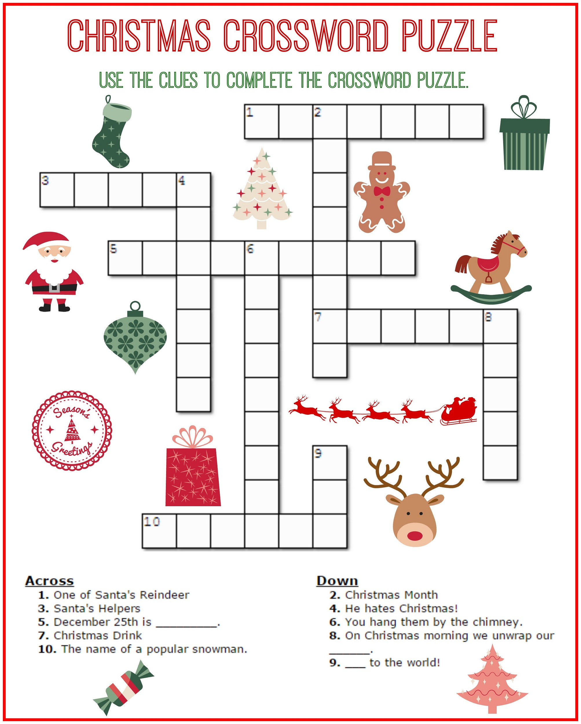 Crossword Puzzle Kids Printable 2017 | Kiddo Shelter - Free Easy - Printable Crossword Puzzles For Students