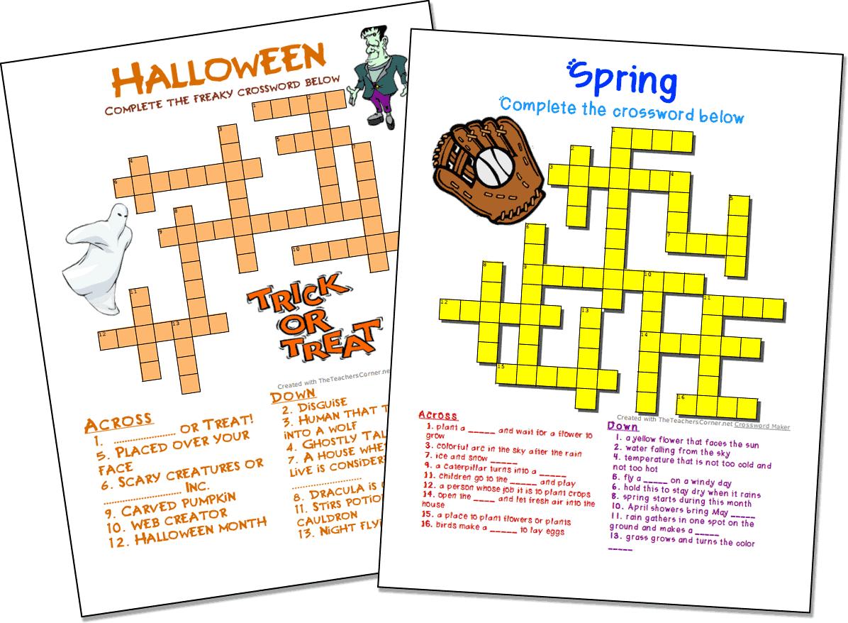 Crossword Puzzle Maker | World Famous From The Teacher's Corner - Crossword Puzzle Generator Free Printable