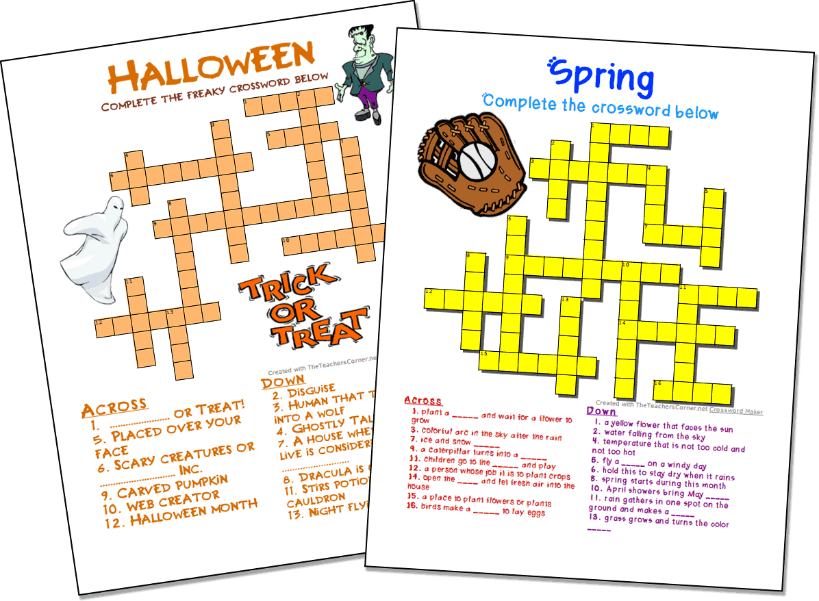 Crossword Puzzle Maker   World Famous From The Teacher's Corner - Free Printable Reading Crossword Puzzles