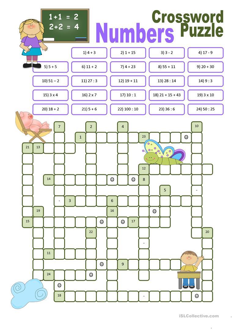 Crossword Puzzle Numbers Worksheet - Free Esl Printable Worksheets - Esl Crossword Puzzles Printable