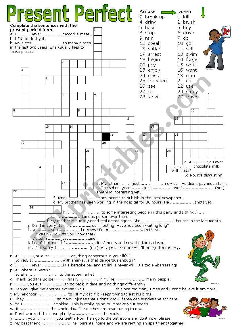 Crossword Puzzle - Present Perfect - Esl Worksheetluoliveira - Crossword Puzzles Printable On Tenses