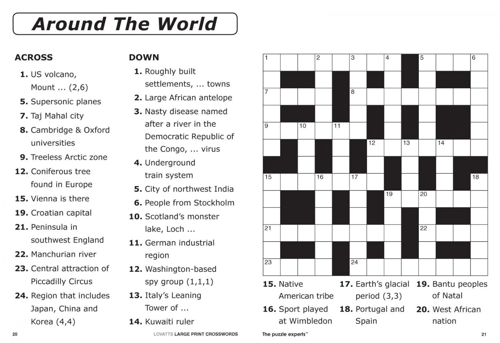 Crossword Puzzle Printable Large Print Crosswords ~ Themarketonholly - Printable Crossword Puzzles In Spanish