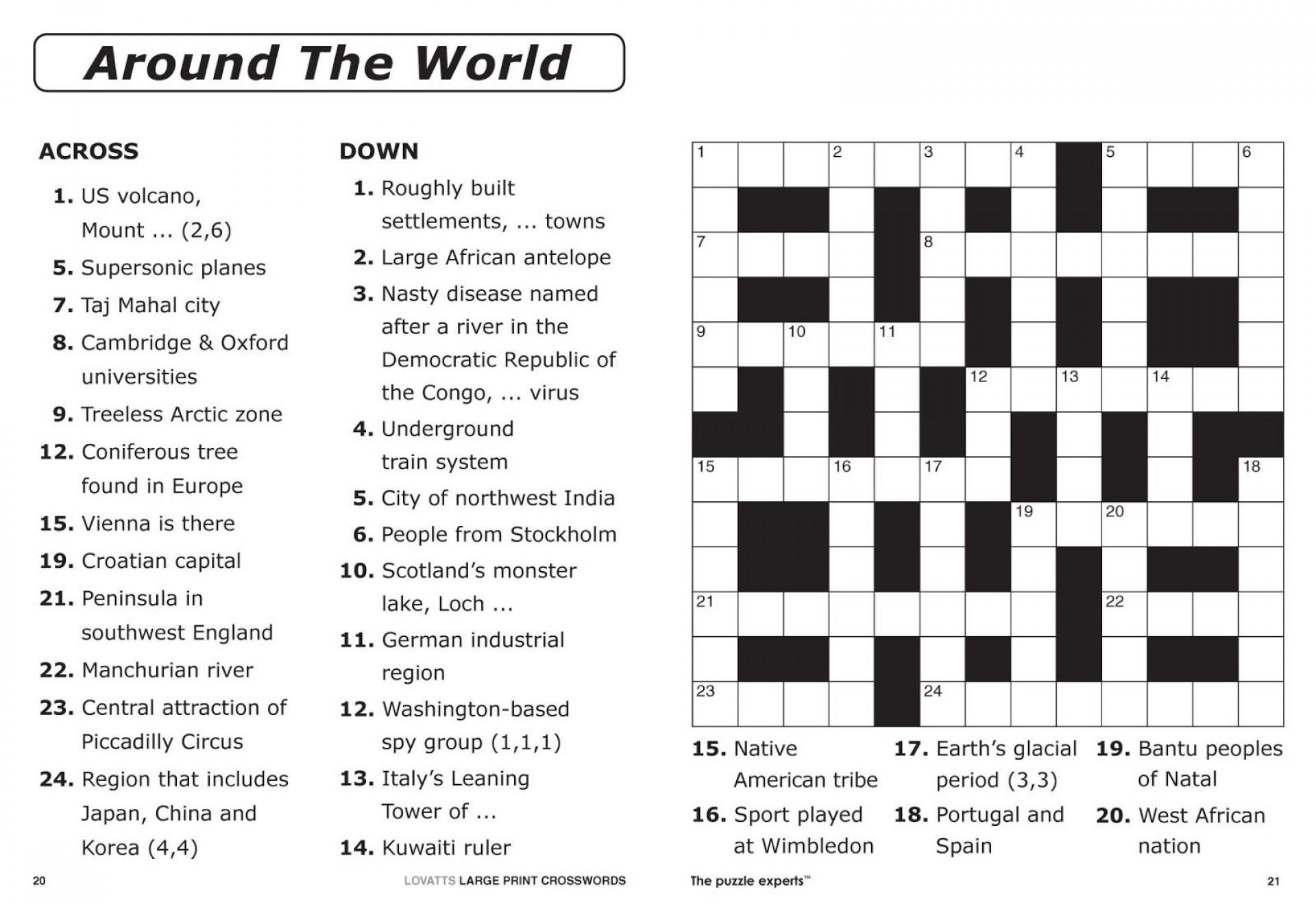 Crossword Puzzle Printable Large Print Crosswords ~ Themarketonholly - Printable Italian Crossword Puzzles
