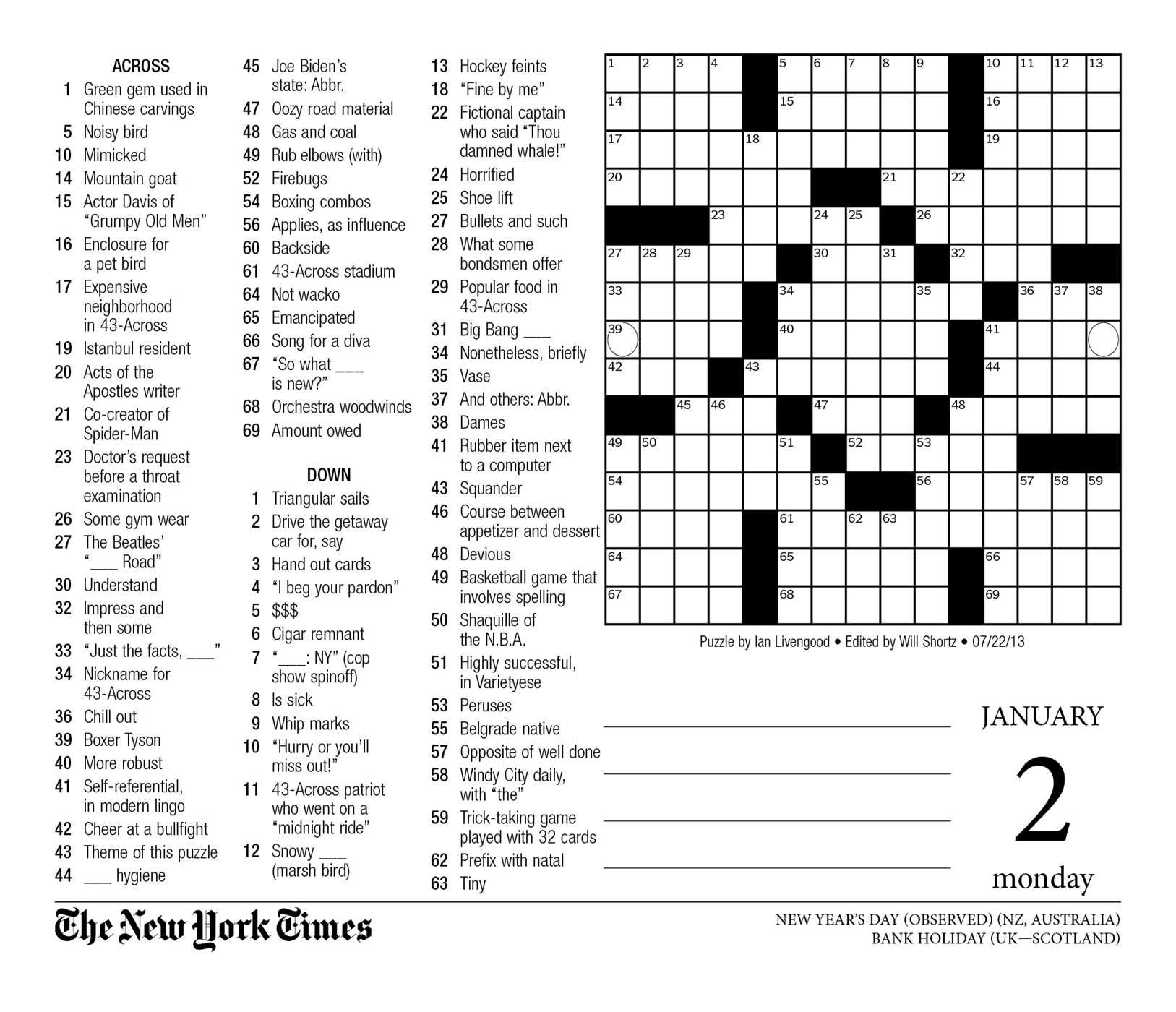 Crossword Puzzle Printable Ny Times Syndicated Answers - New York - Printable Crossword Nyt