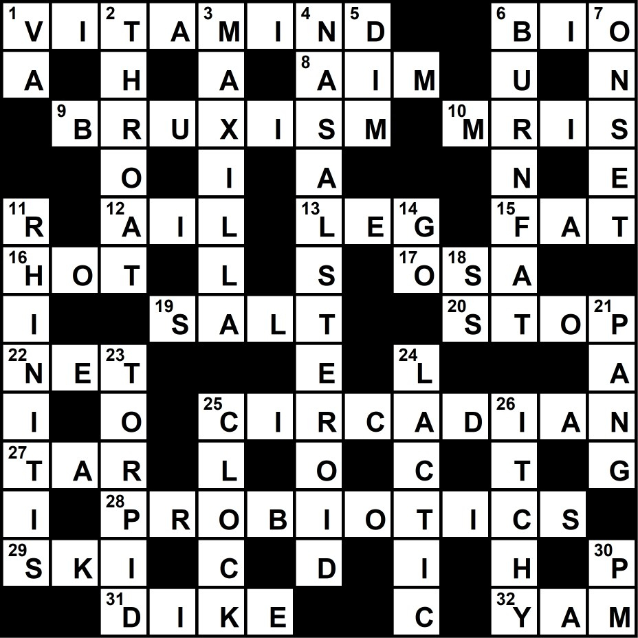 Crossword Puzzle: Sleep Medicine-Themed Clues (January 2018) - Sleep - Printable Crossword Puzzles Business And Finance