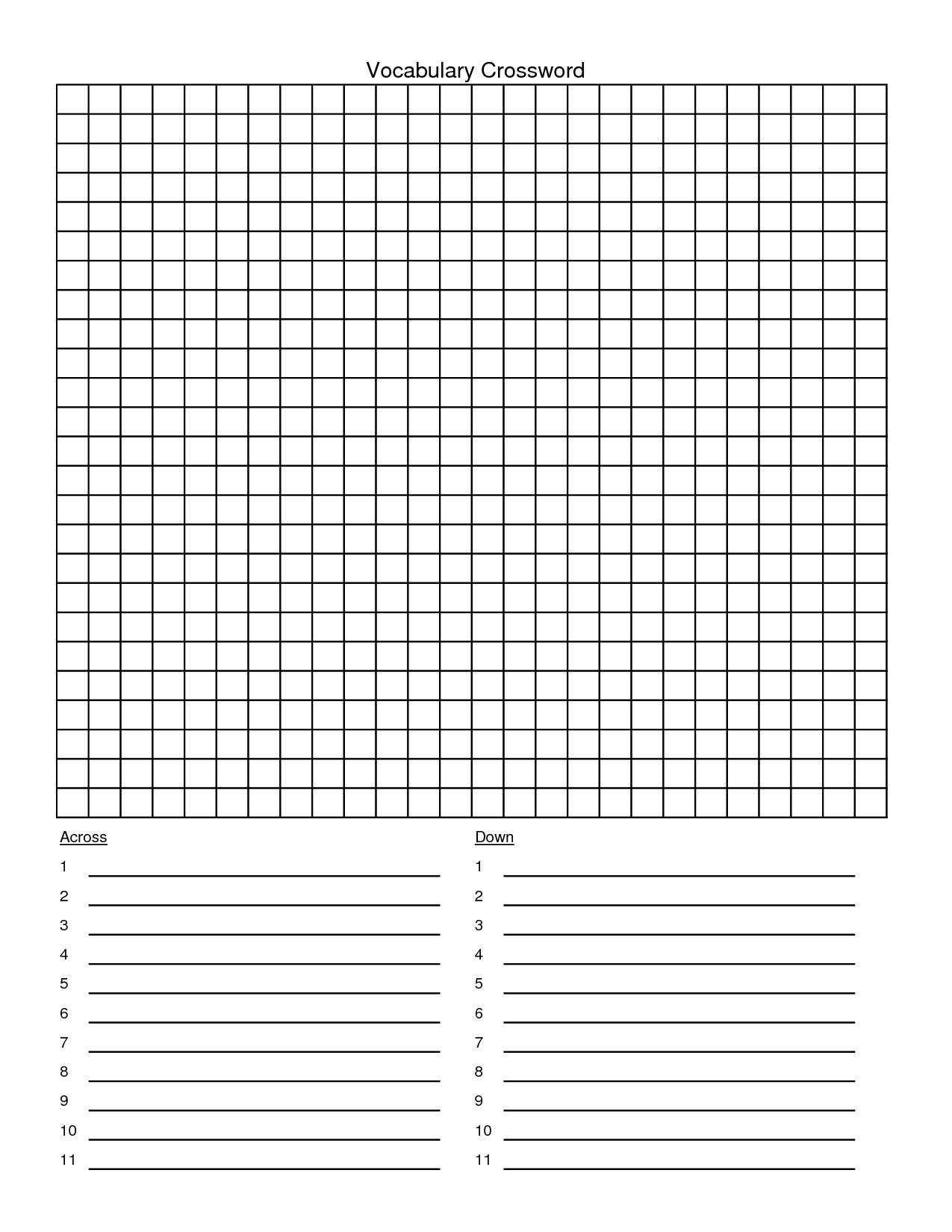 Crossword Puzzle Template - Yapis.sticken.co - Printable Crossword Puzzle Template