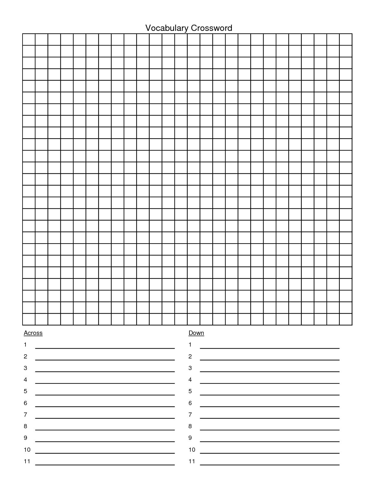 Crossword Puzzle Template - Yapis.sticken.co - Printable Crossword Template