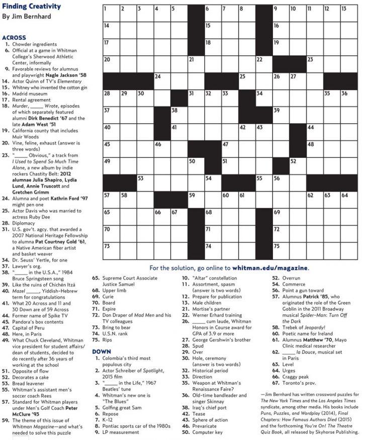 College Crossword Puzzle Printable