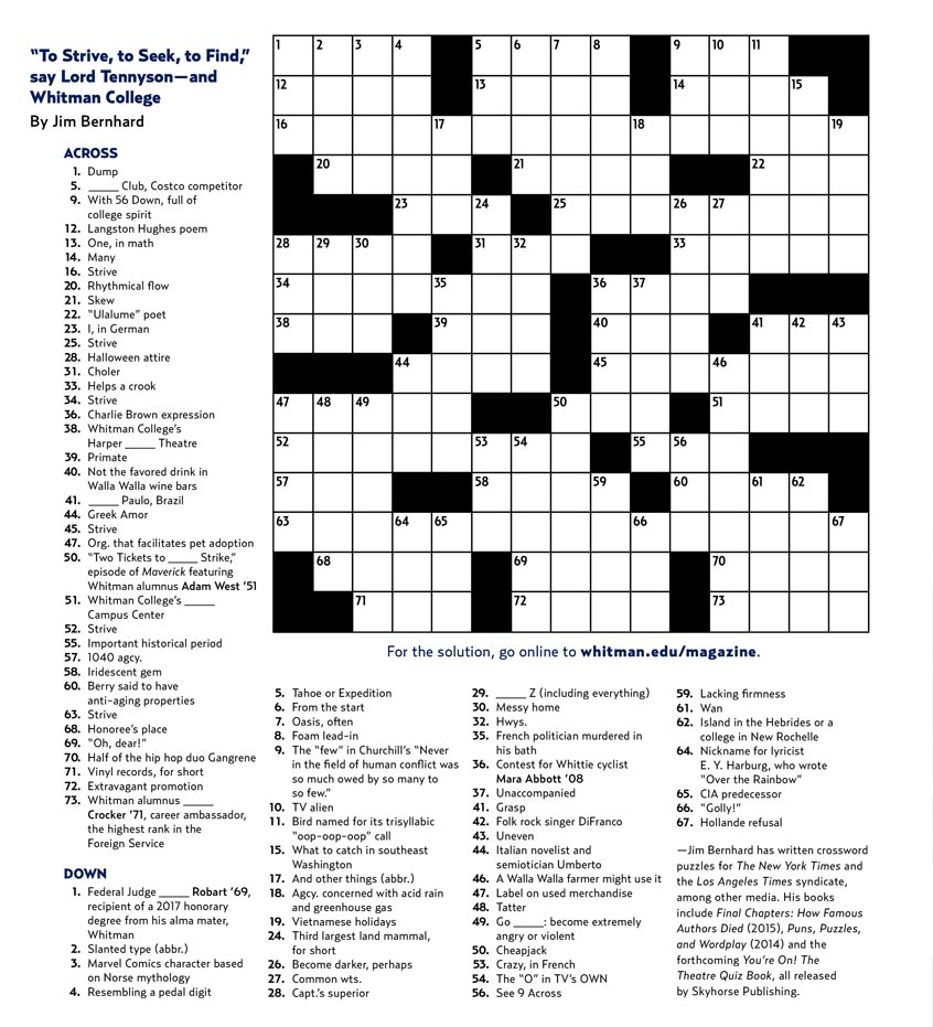 Crossword Puzzle | Whitman College - Printable Crossword Puzzles For College Students