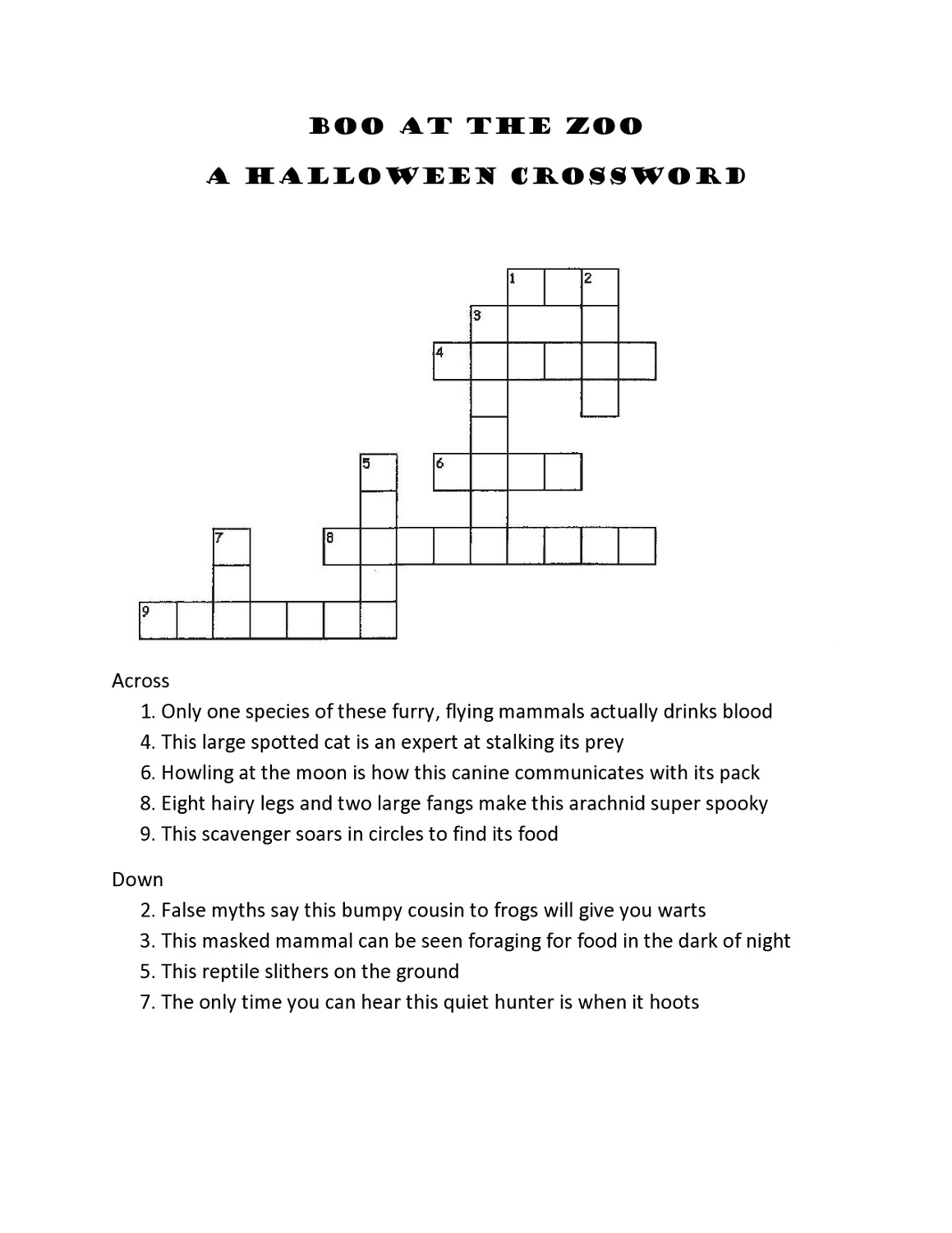 Crossword Puzzles For 5Th Graders | Activity Shelter - Printable Crossword Puzzles For 8Th Graders
