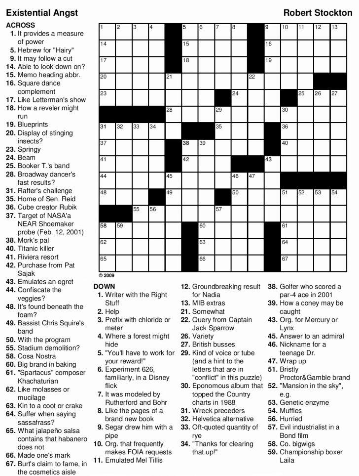 Printable Crossword Adults