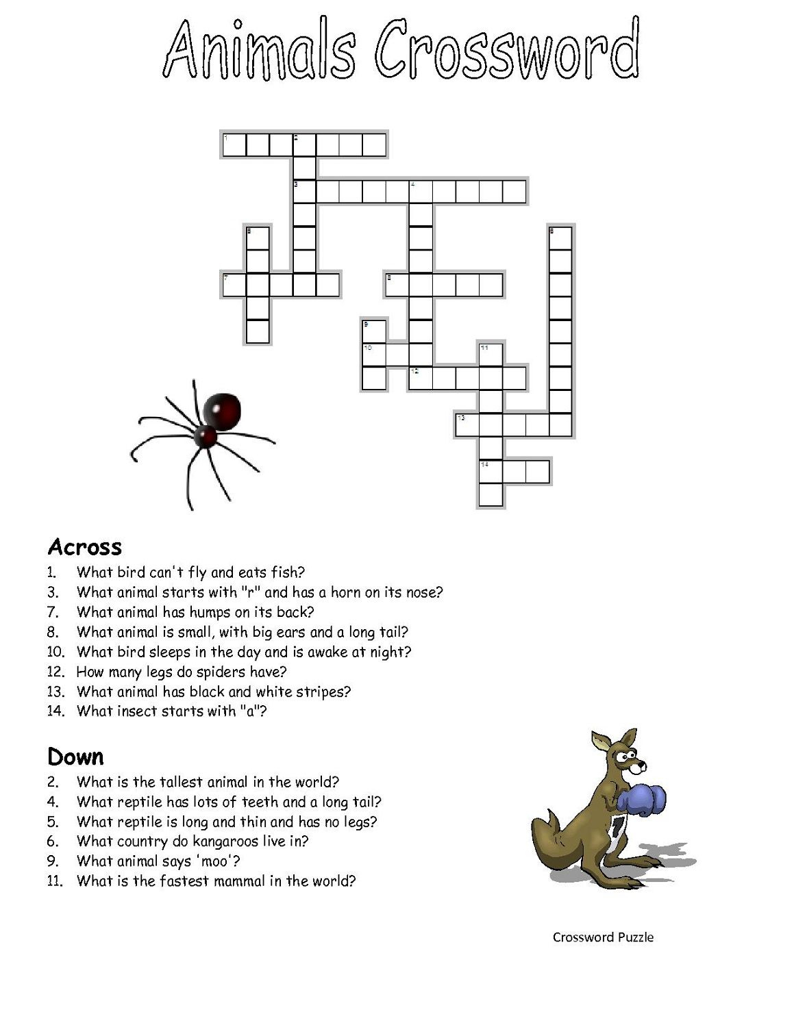 Crossword-Puzzles-Kids-Animal | Work It | Crossword, Puzzle - Printable Crossword Puzzle Animals