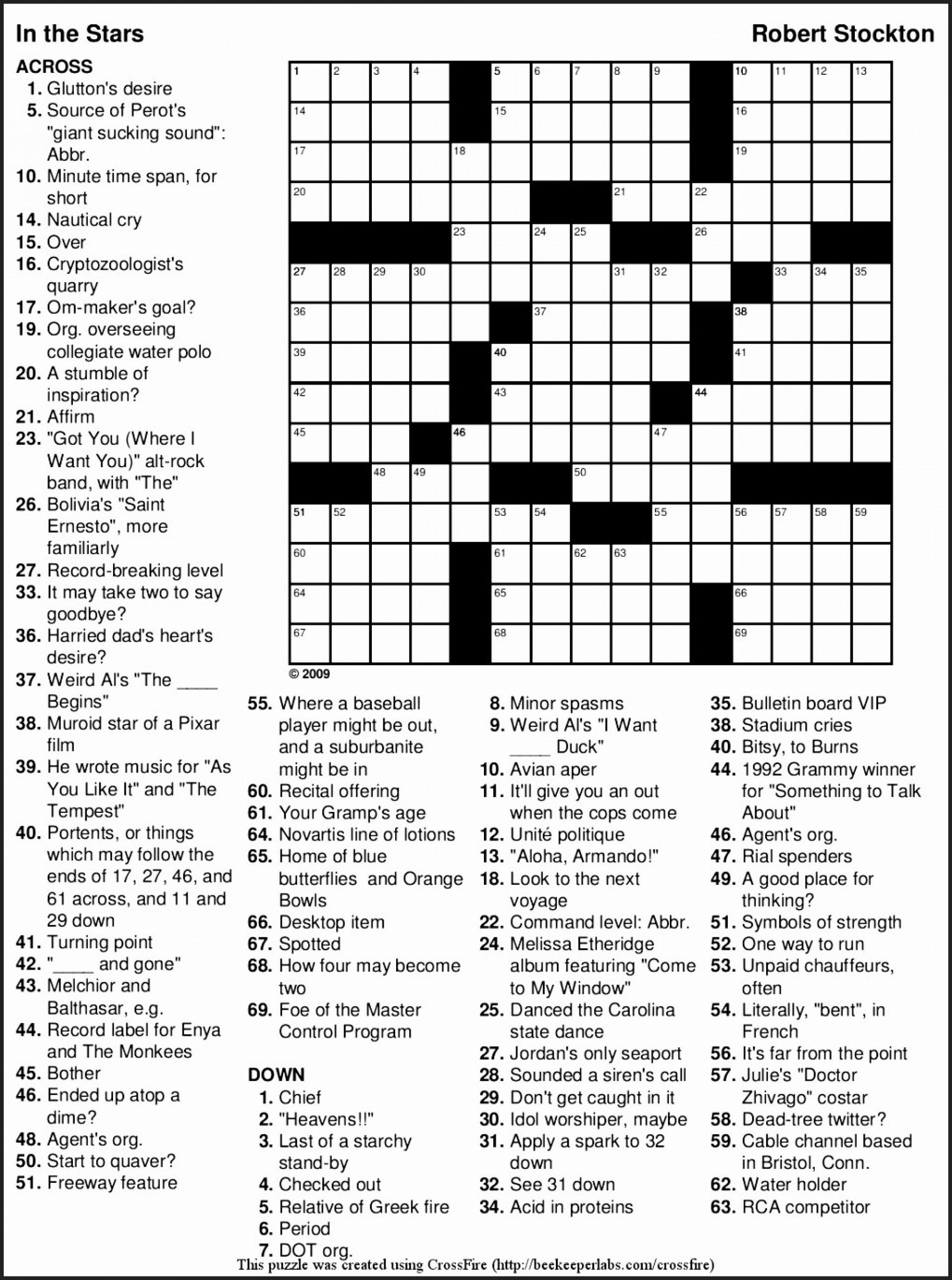 Crossword Puzzles Printable Large Crosswords ~ Themarketonholly - Large Print Crossword Puzzles Printable