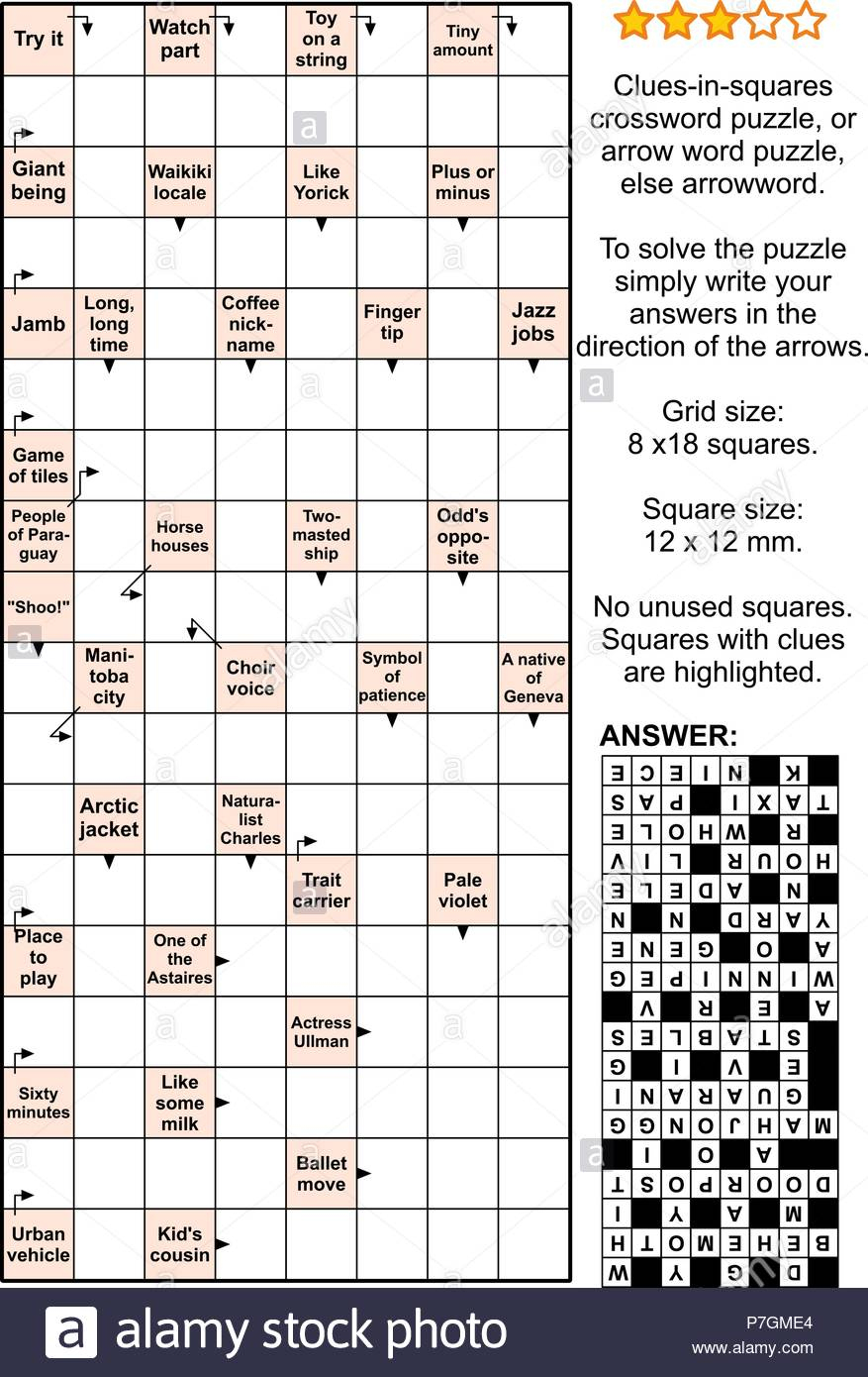 Crossword Puzzles Words Stock Photos & Crossword Puzzles Words Stock - Printable Arrow Crossword Puzzles For Free