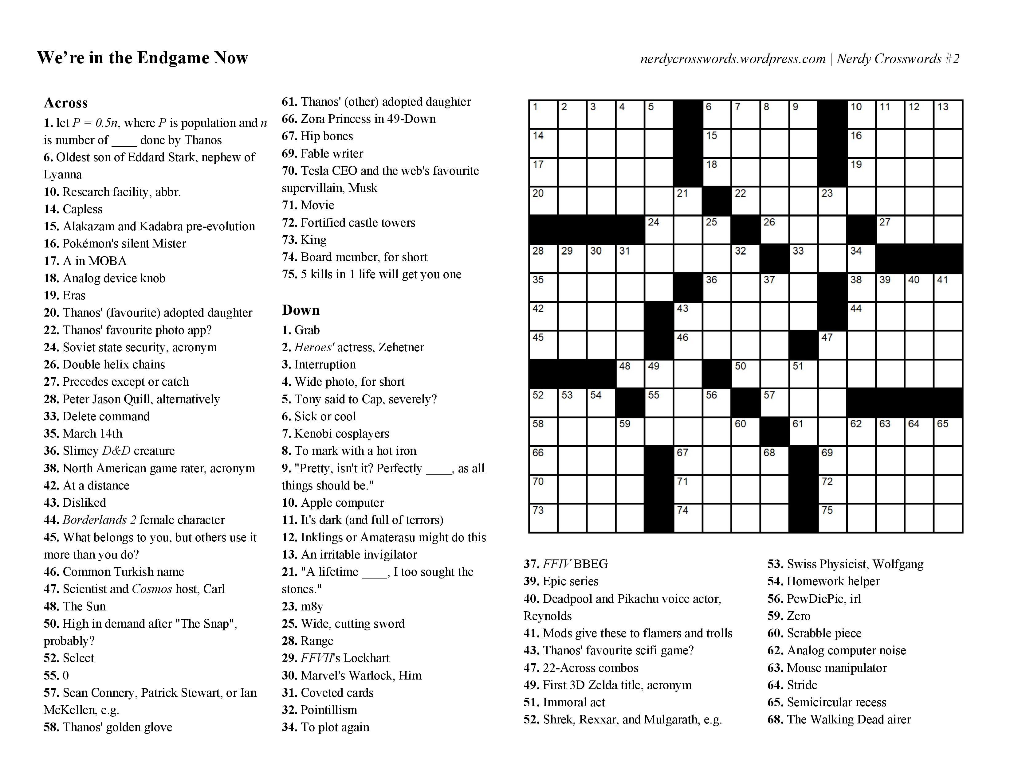 Crossword Puzzles - Zelda Crossword Puzzle Printable