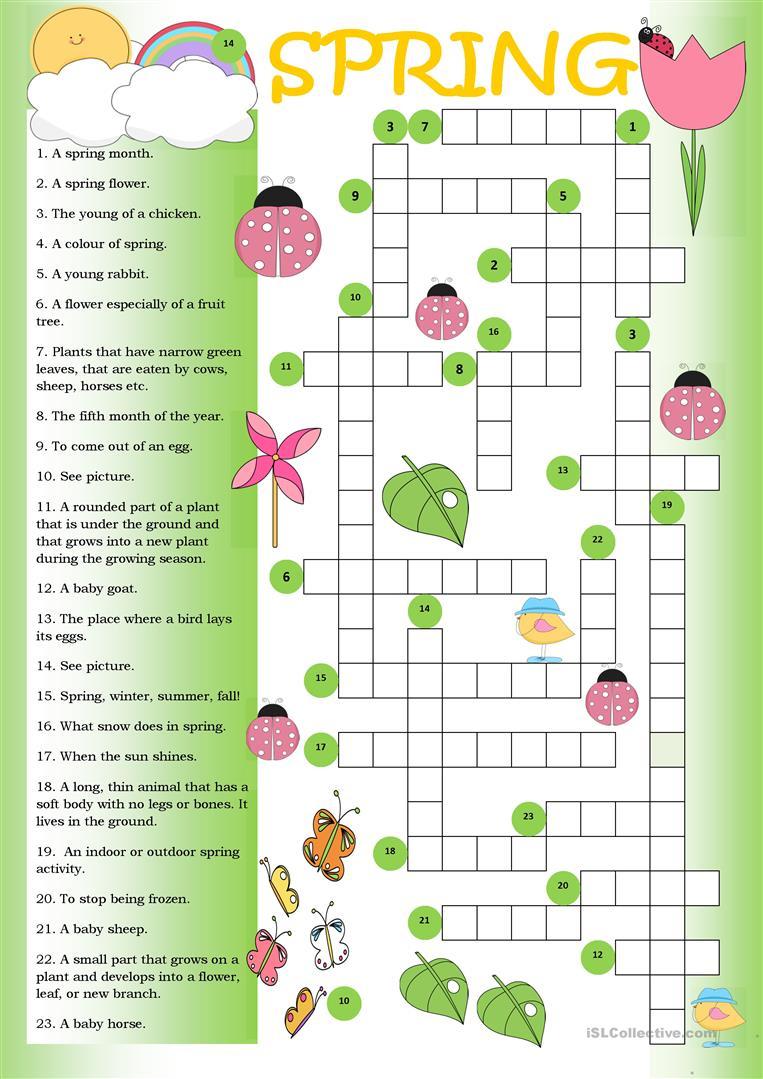 Crossword Spring Worksheet - Free Esl Printable Worksheets Made - Printable Spring Crossword Puzzles