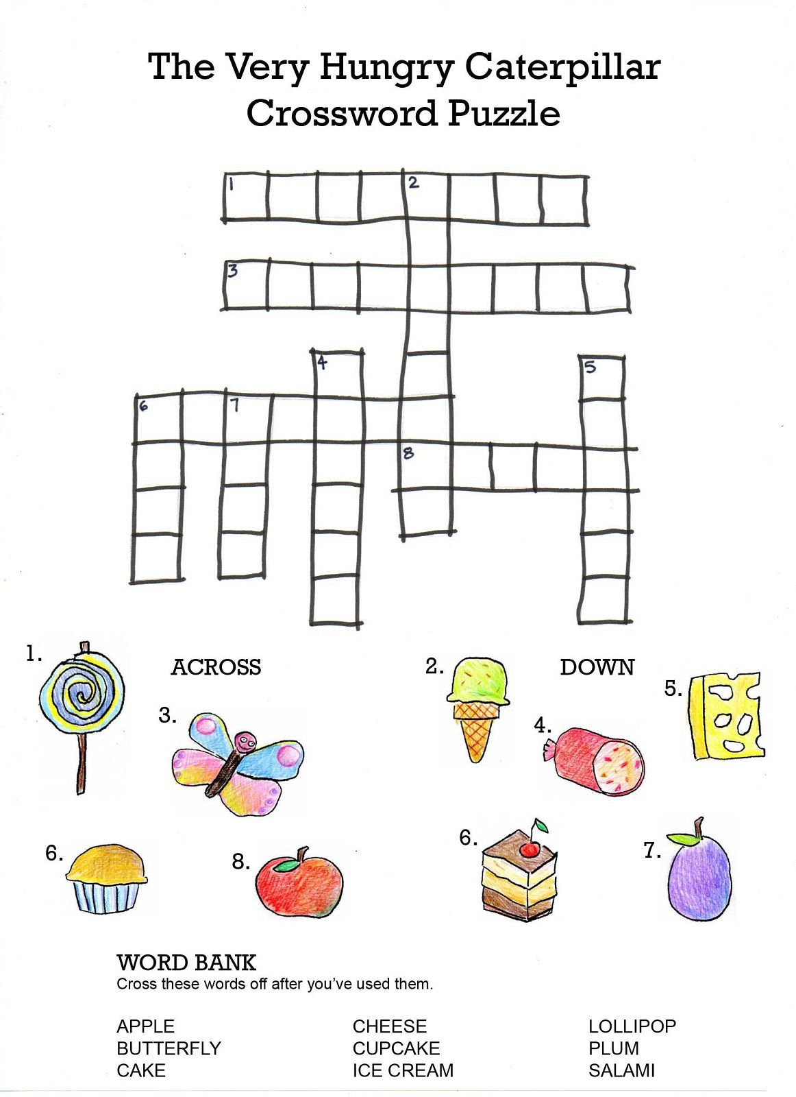Crossword To Practice. Food | Storybook Activities | Hungry - Printable Crossword Puzzles For Kids With Word Bank