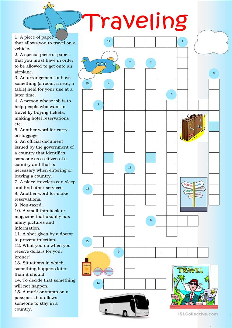 Crossword: Traveling Worksheet - Free Esl Printable Worksheets Made - Printable Crossword Puzzles Travel