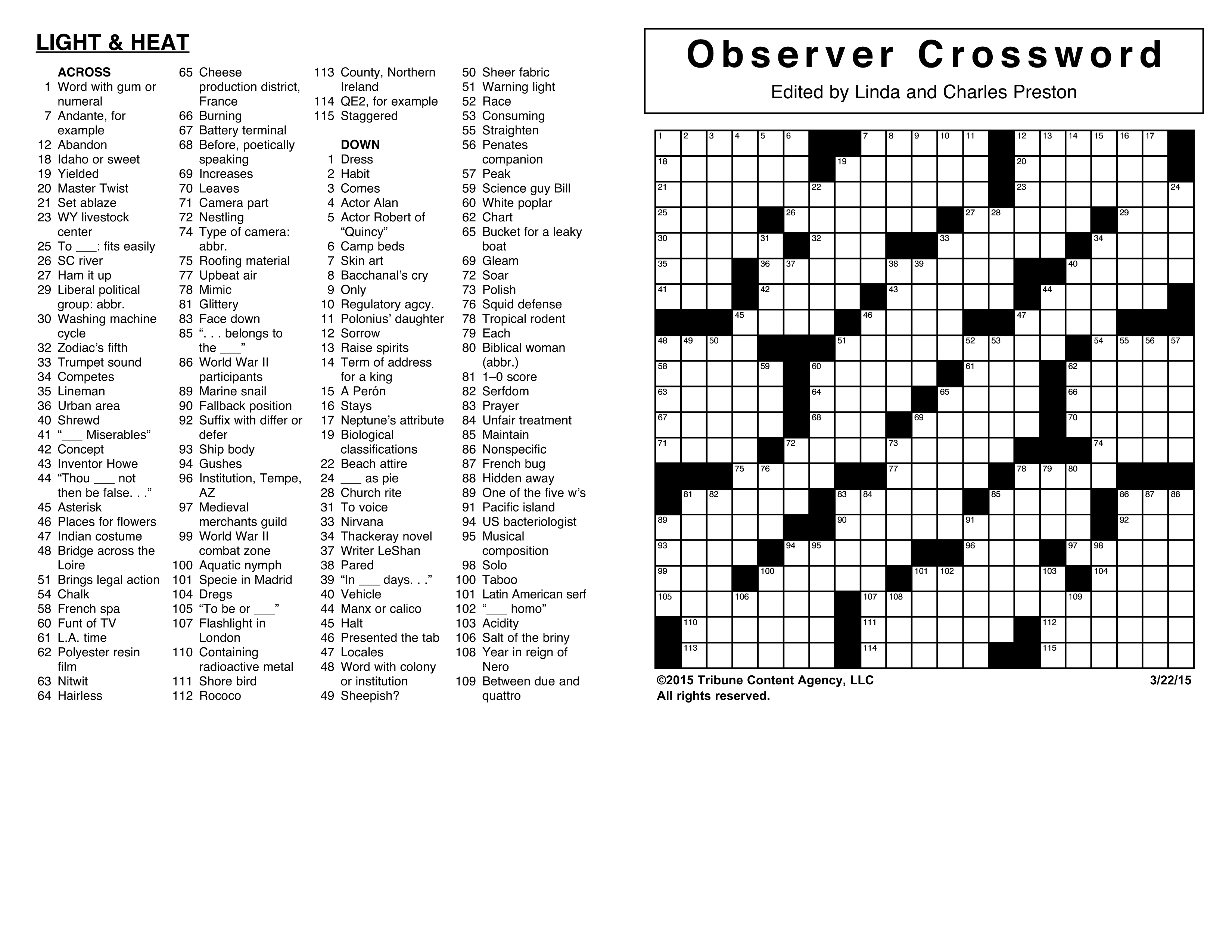 Crosswords Archives | Tribune Content Agency - Printable Crossword Puzzle Nov 2018