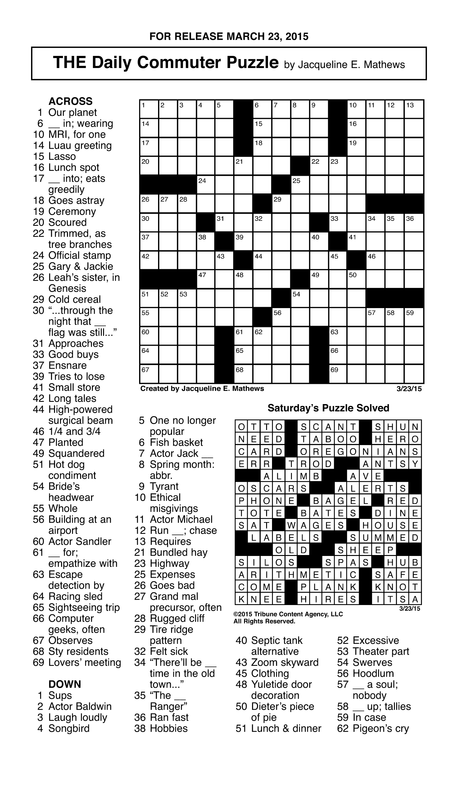Crosswords Archives | Tribune Content Agency - Printable Daily Crosswords For October 2015