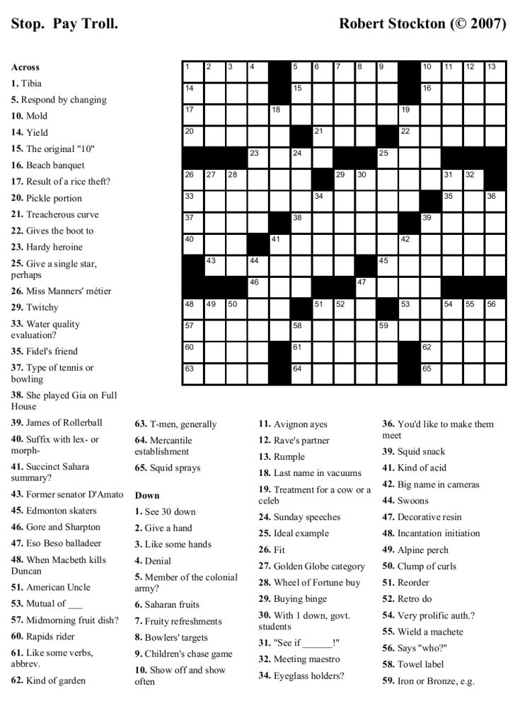 Printable Crossword Puzzles For High School Students