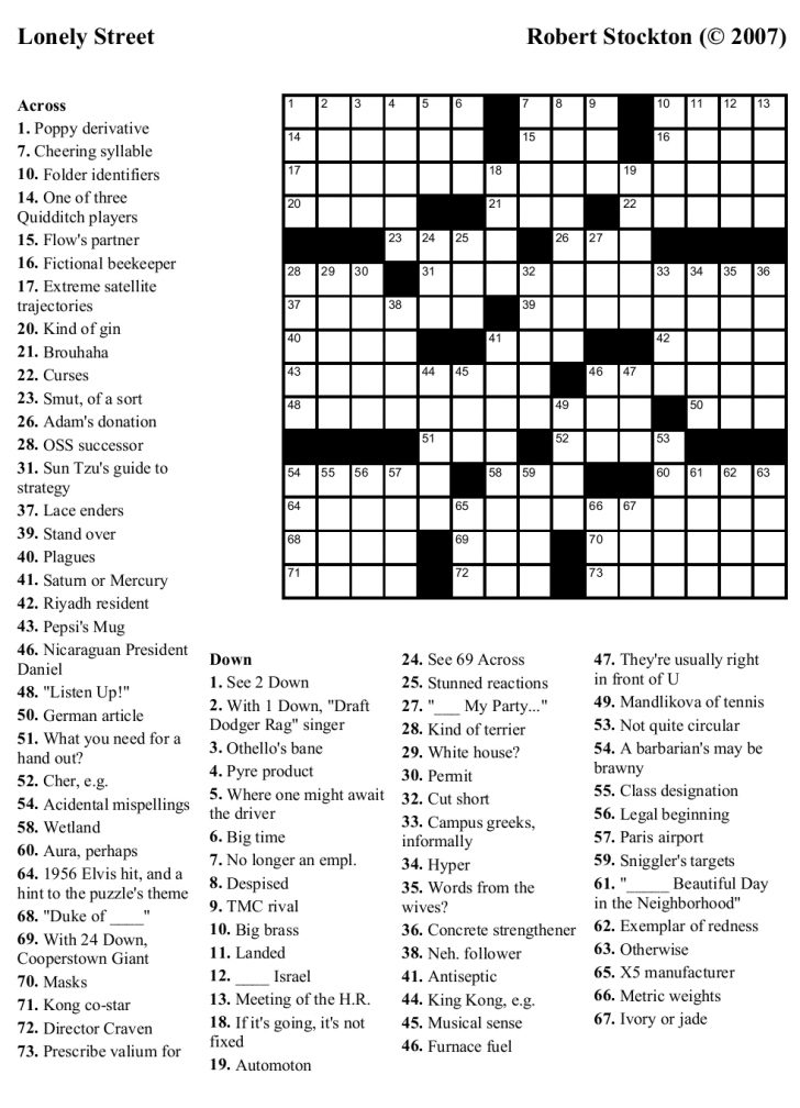 Printable Hard Crossword Puzzles For Adults