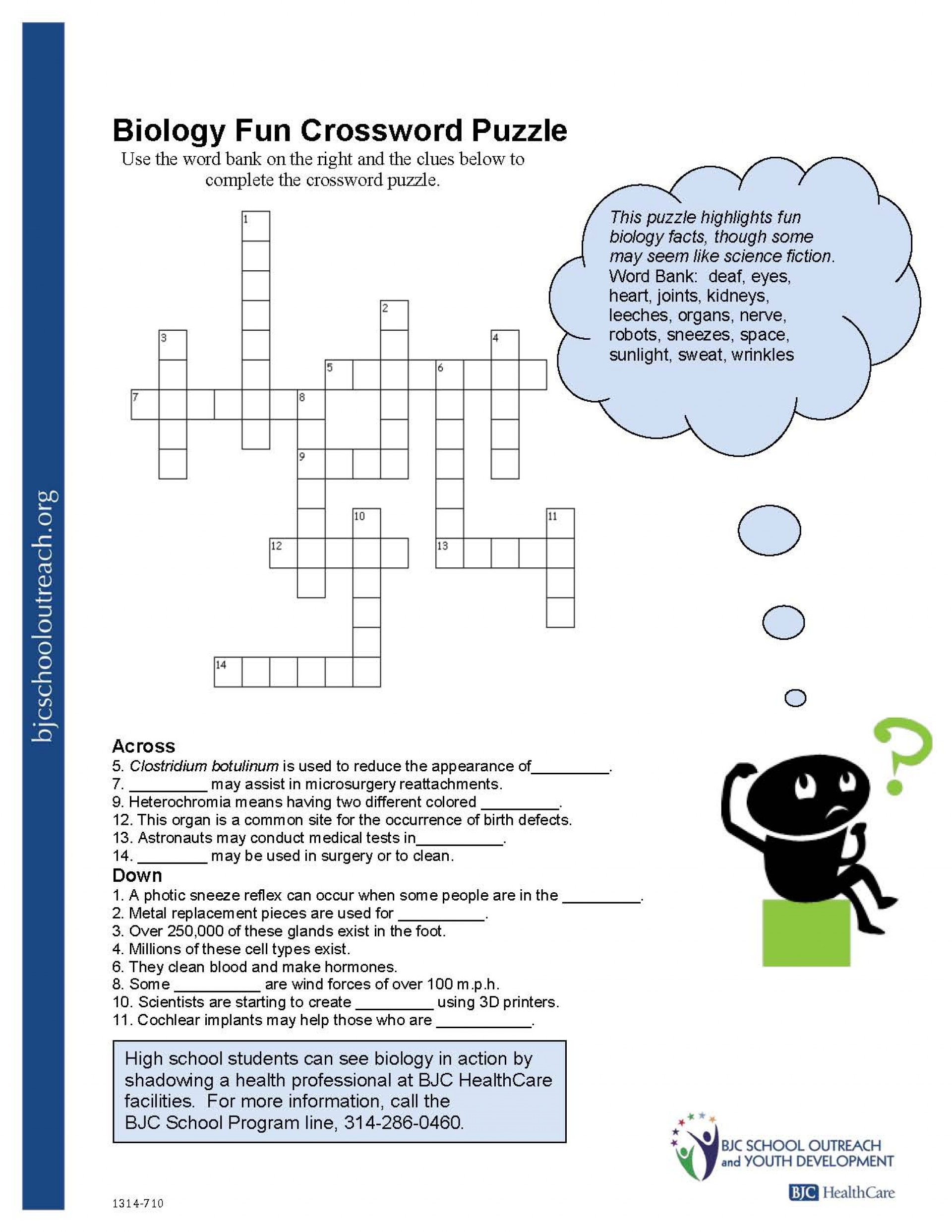 Crosswords Crossword Puzzle Worksheets For Middle School Biology Fun - Printable Worksheets Crossword Puzzles