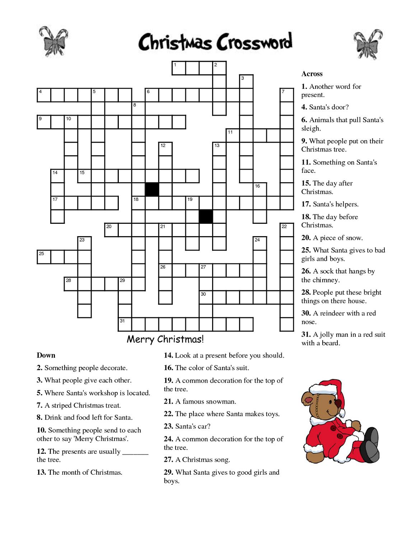 Crosswords For Kids Christmas | K5 Worksheets | Christmas Activity - Crossword Puzzles For Kindergarten Free Printable