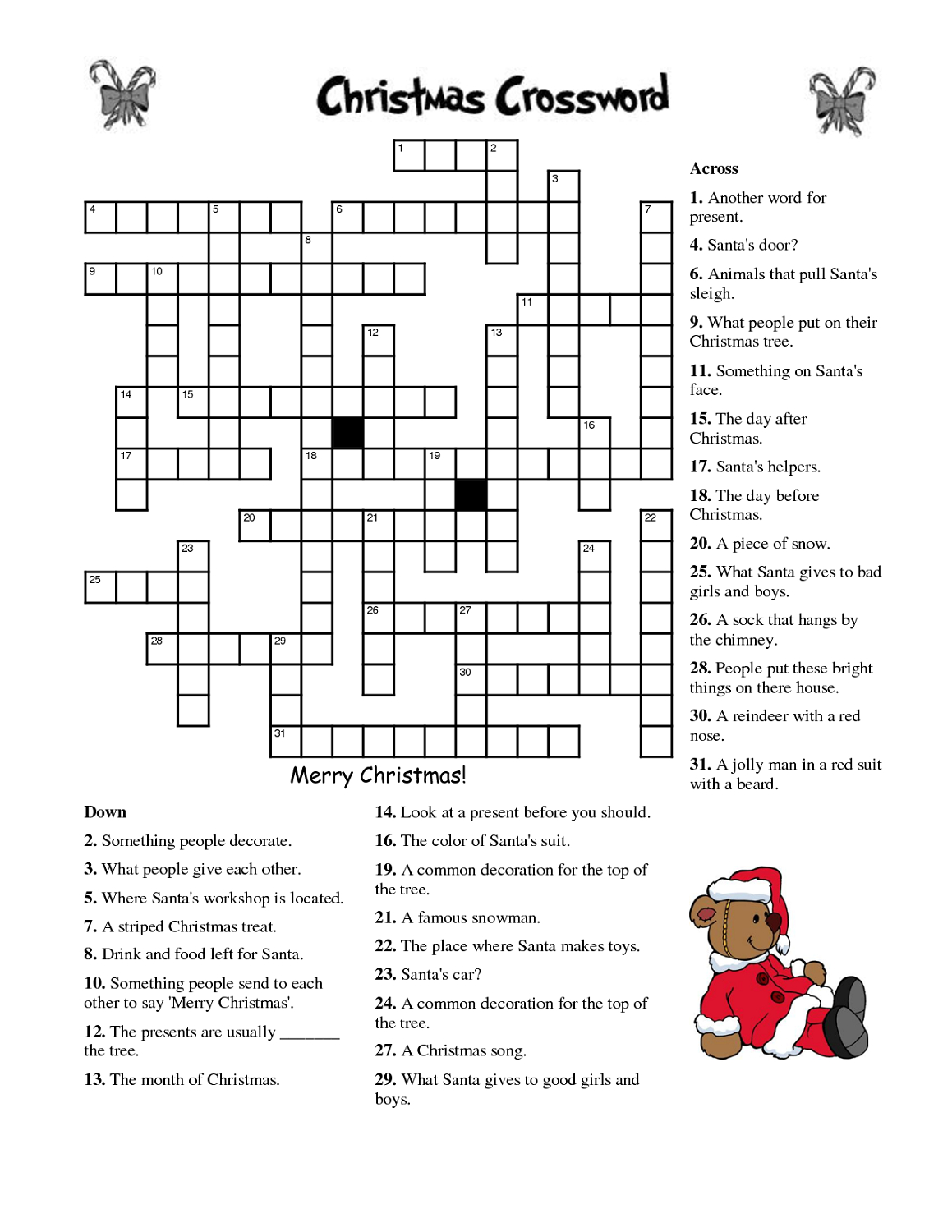 Crosswords For Kids Christmas | K5 Worksheets | Christmas Activity - English Language Crossword Puzzles Printable