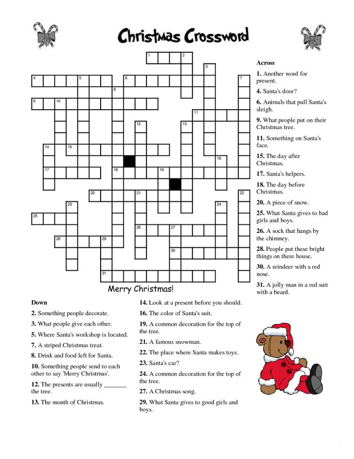 Printable Crossword Christmas