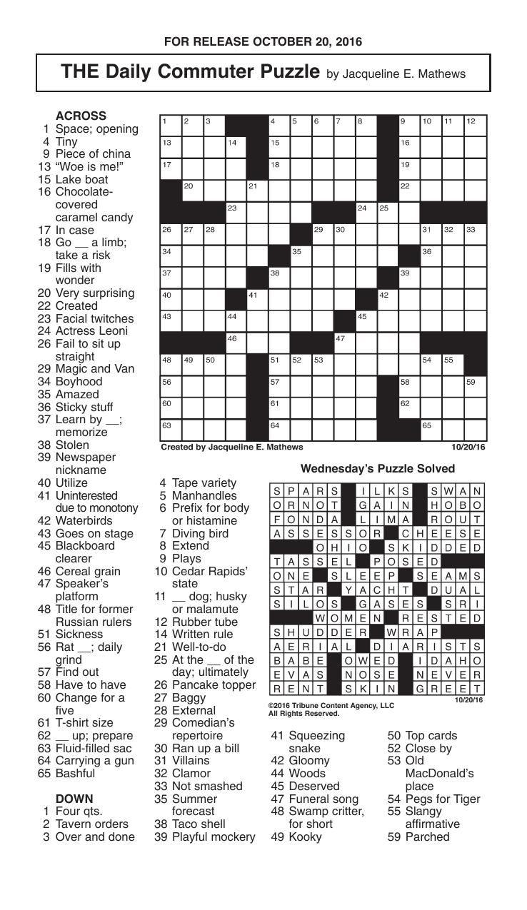 Crosswords, October 20, 2016 | Crosswords | Redandblack - Printable Commuter Crossword Puzzle