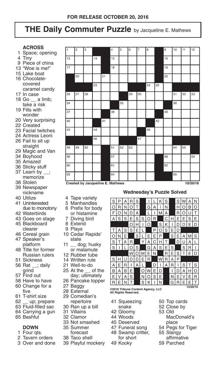 Crosswords, October 20, 2016 | Crosswords | Redandblack - Printable Commuter Crossword Puzzles