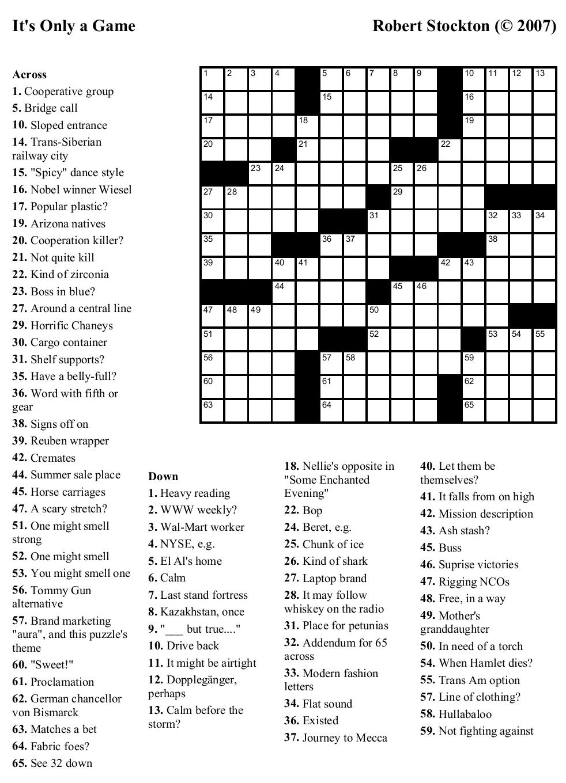 Crosswords Onlyagame Large Printable Crossword Puzzle - Printable Crossword Washington Post