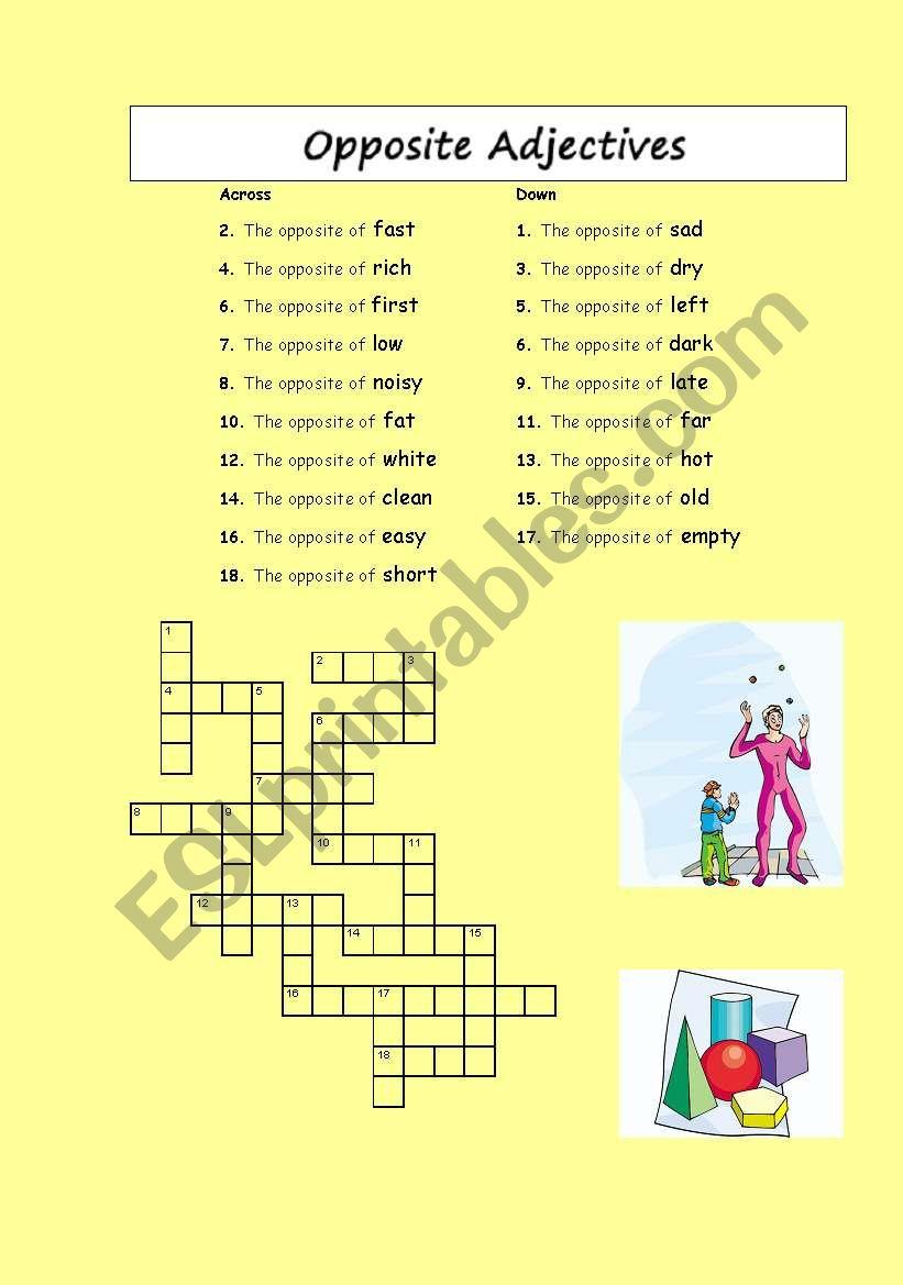 Crosswords: Opposite Adjectives And Verbs - Esl Worksheetphiliproth - Printable Opposite Crossword Puzzle