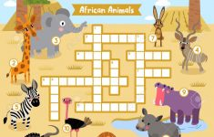 Crosswords Puzzle Game Of African Animals For Preschool Kids   Printable Animal Puzzle