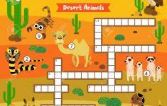 Crosswords Puzzle Game Of Desert Animals For Preschool Kids Activity   Printable Animal Puzzle