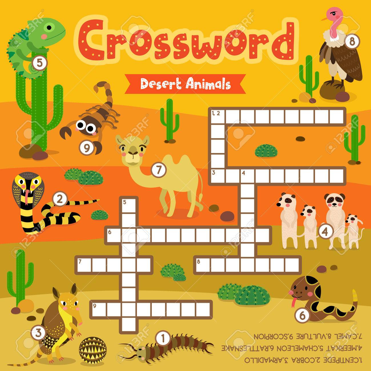 Crosswords Puzzle Game Of Desert Animals For Preschool Kids Activity - Printable Animal Puzzle