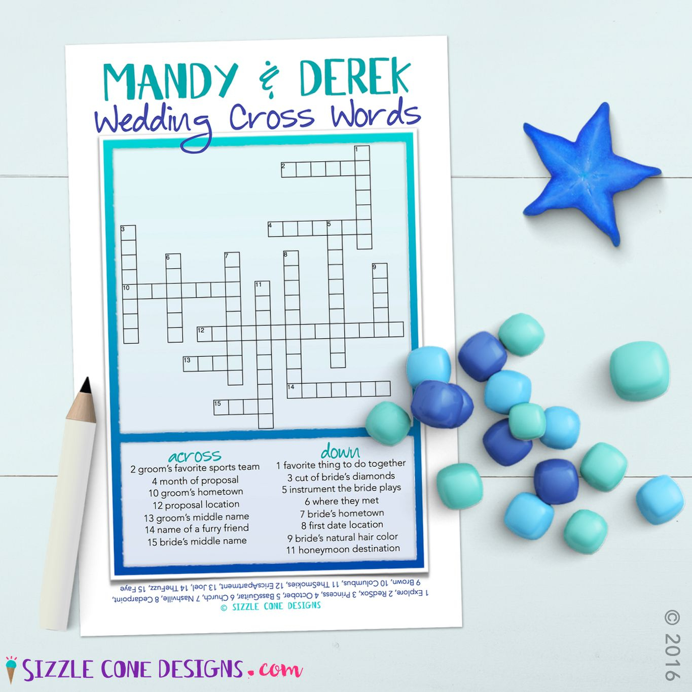 Custom Wedding Crossword Puzzle Game Printable #219 | Member Board - Printable Wedding Crossword Puzzle