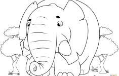Cute Cartoon Elephant Coloring Page | Free Printable Coloring Pages   Printable Elephant Puzzle
