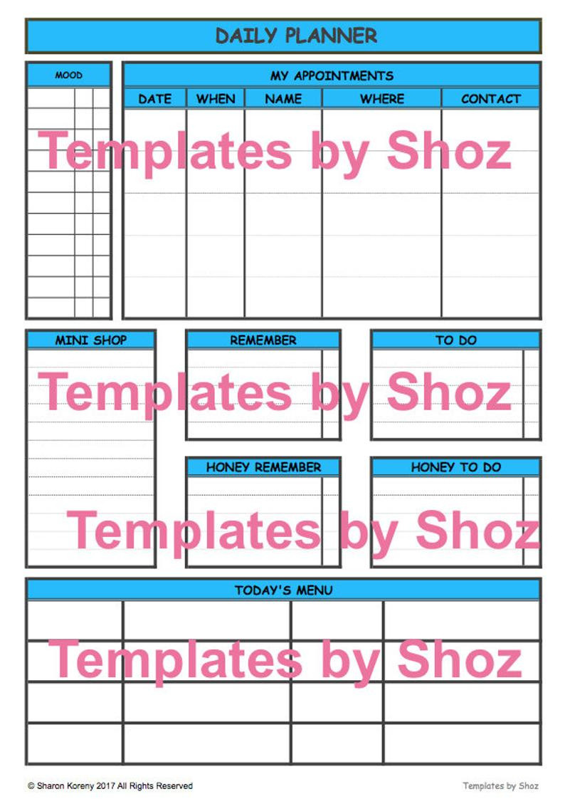 Daily Planner Pdf File Printable | Etsy - Printable Dropdown Puzzles