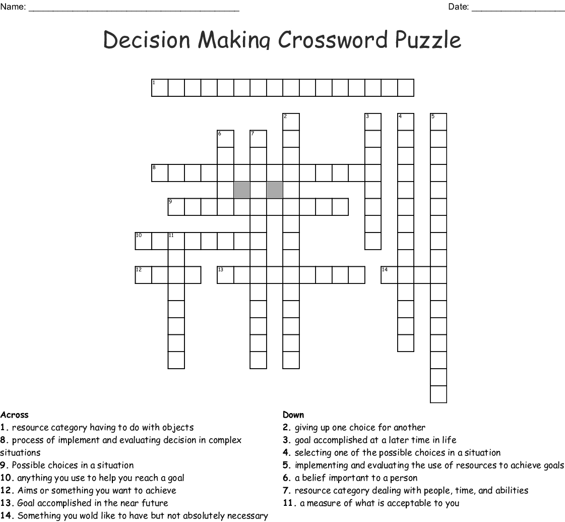 Decision Making Crossword Puzzle Crossword - Wordmint - Custom Crossword Puzzle Printable