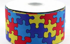"""Detail Feedback Questions About 3""""75Mm Autism Awareness Printed   Puzzle Print Ribbon"""