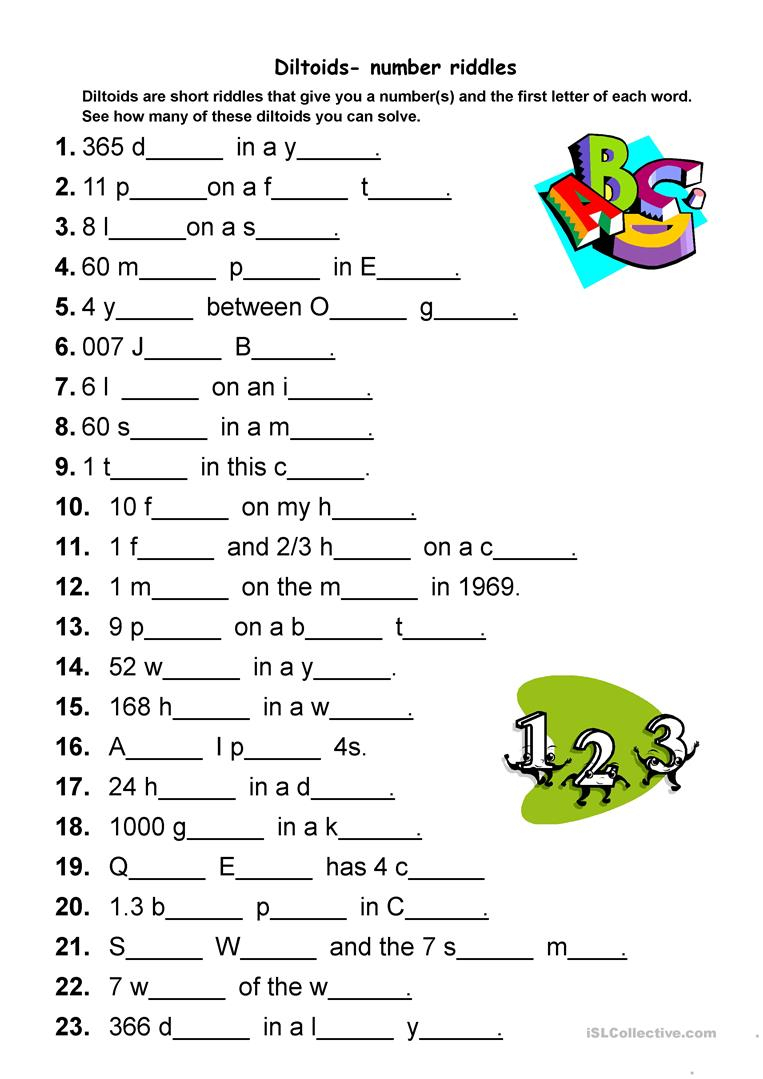 Diltoids- Number/letter Puzzles Worksheet - Free Esl Printable - Printable English Puzzle