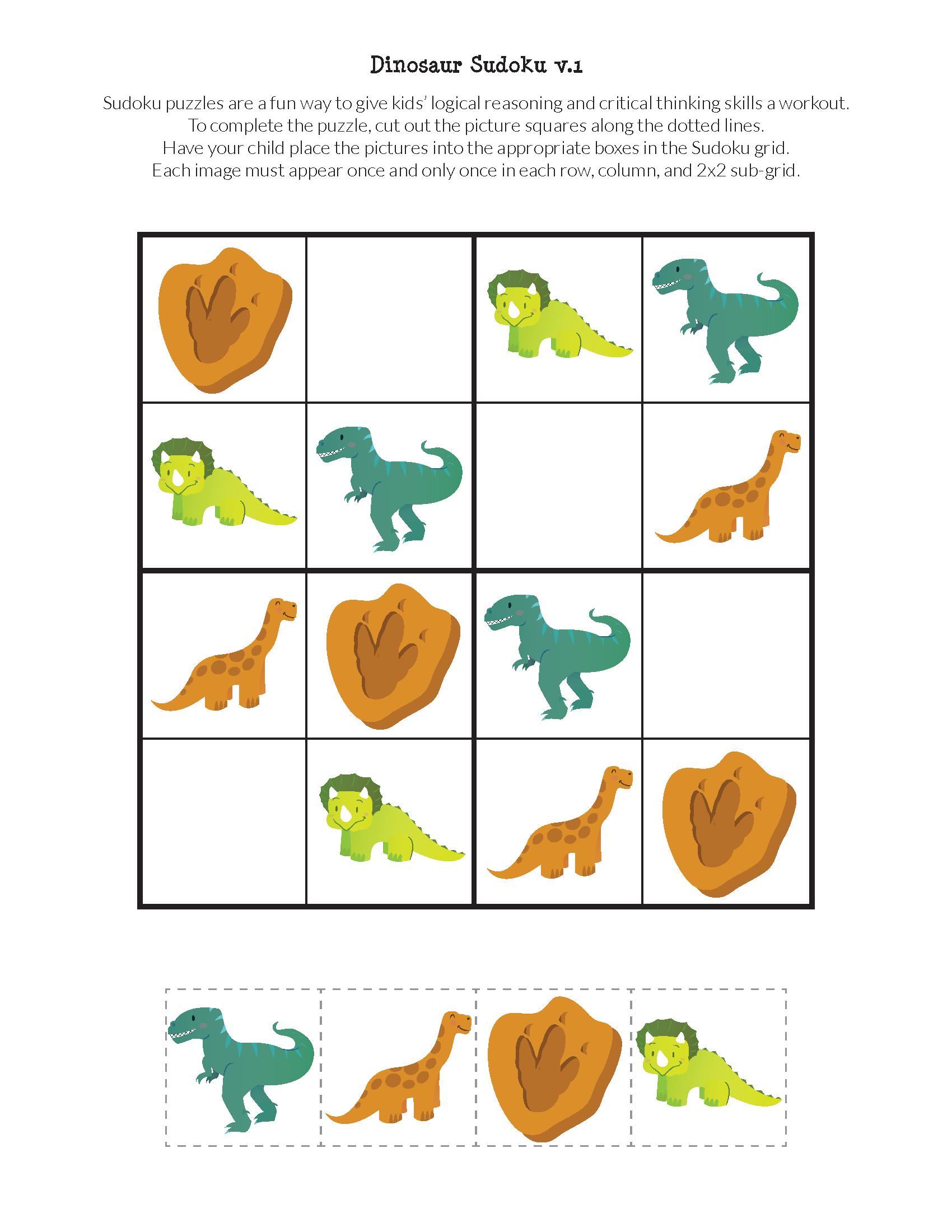 Dinosaur Sudoku Puzzles {Free Printables} | Education Ideas | Sudoku - Printable Dinosaur Puzzles