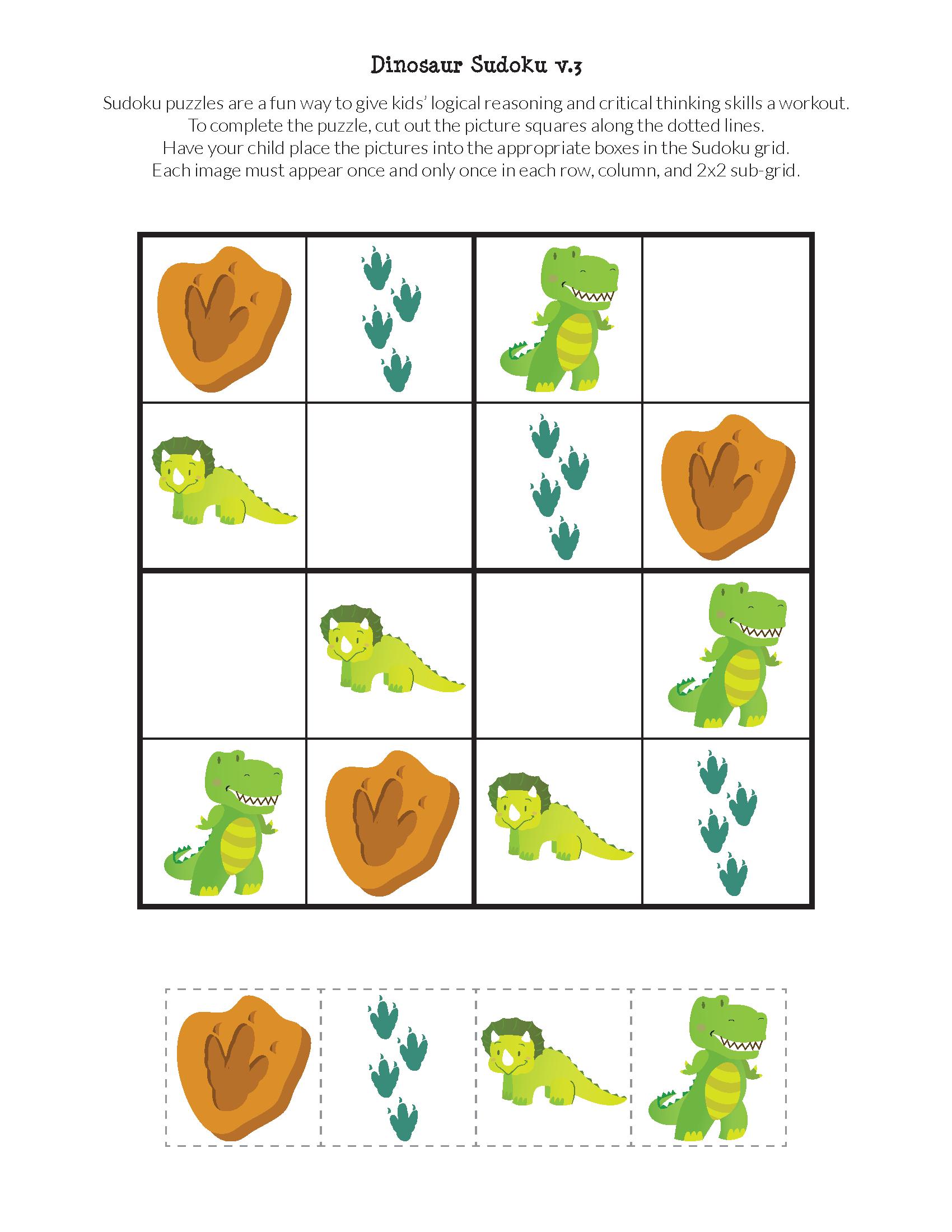 Dinosaur Sudoku Puzzles {Free Printables} - Gift Of Curiosity - Printable Dinosaur Puzzles