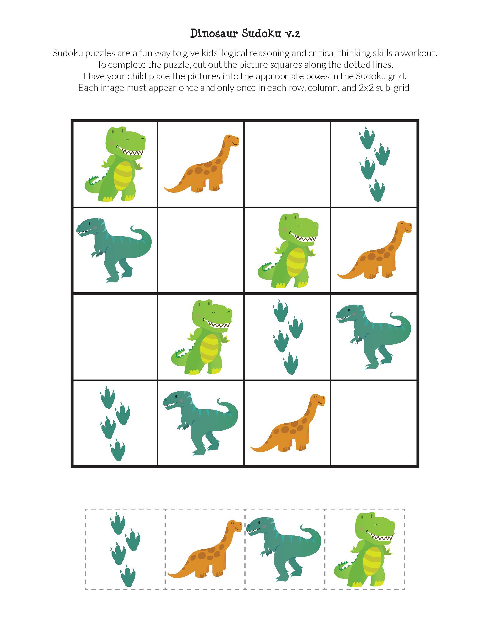 Dinosaur Sudoku Puzzles {Free Printables} | Sudoku | Sudoku Puzzles - Printable Dinosaur Puzzles